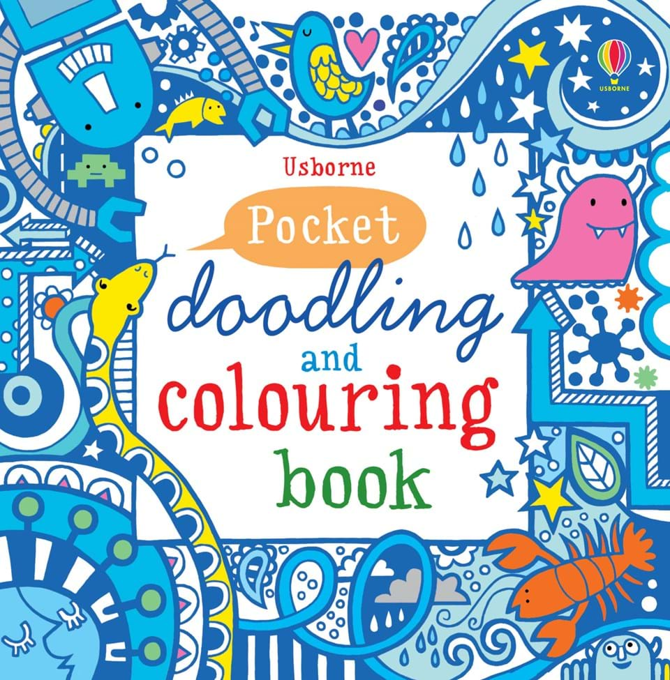 pocket doodling and colouring book blue - Usborne Coloring Books