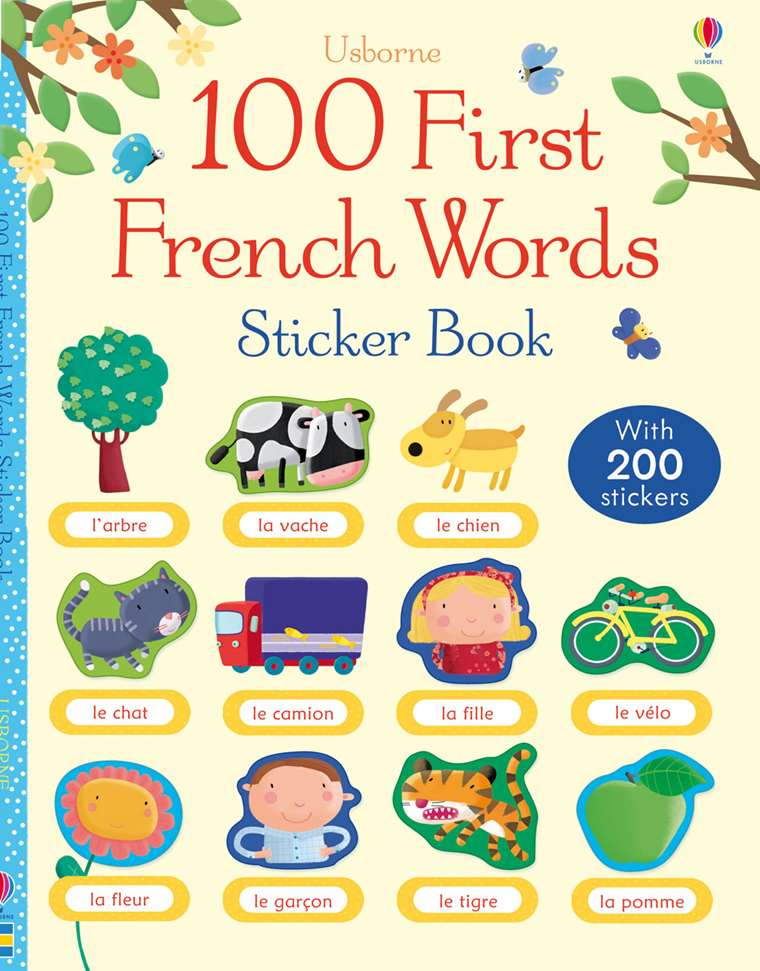 "100 First French words sticker book"" at Usborne Children's Books"