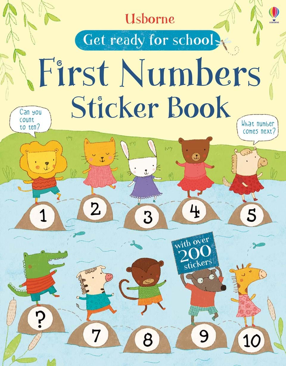 "School Book Cover Stickers : ""get ready for school first numbers sticker book at"
