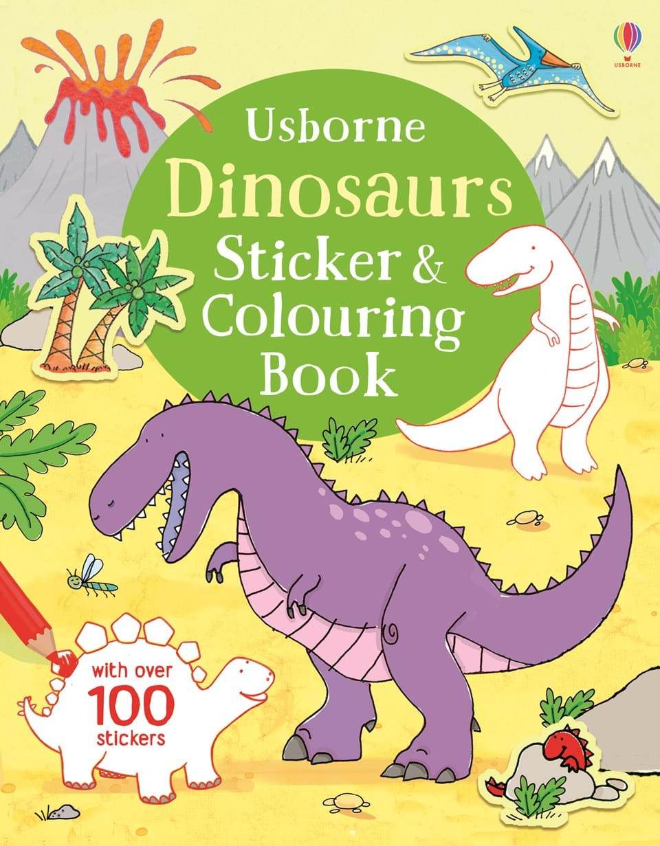 "Dinosaurs sticker and colouring book"" at Usborne Children\'s Books"