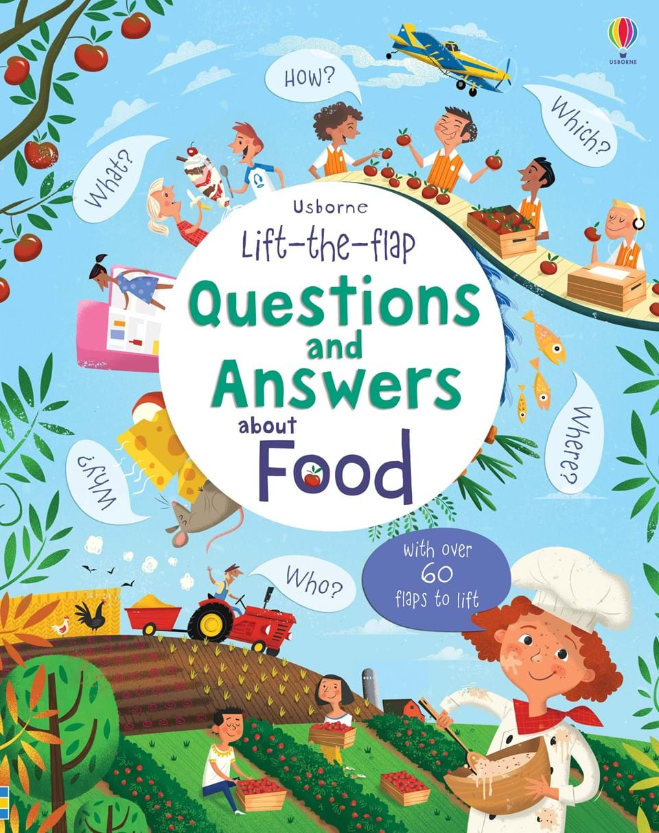 """Food Book Cover Questions : """"lift the flap questions and answers about food at"""