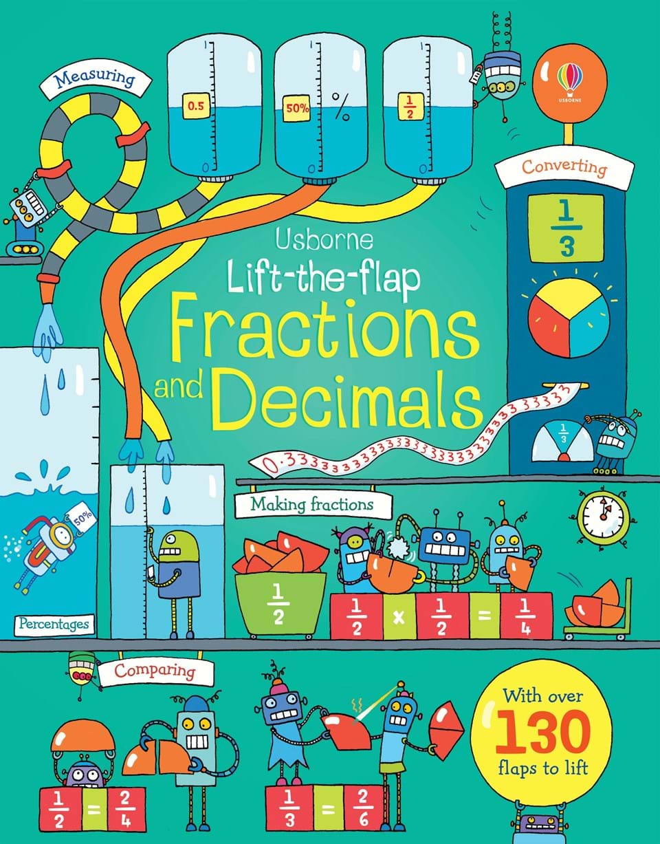 """Lift-the-flap fractions and decimals"""" at Usborne Children\'s Books"""