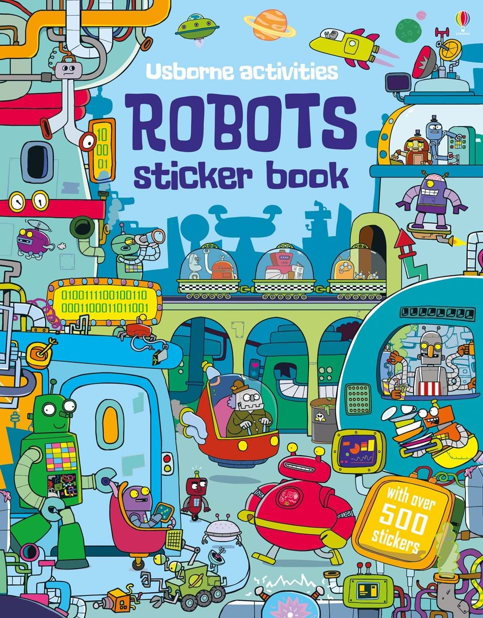 "School Book Cover Stickers : ""robots sticker book at usborne books home"