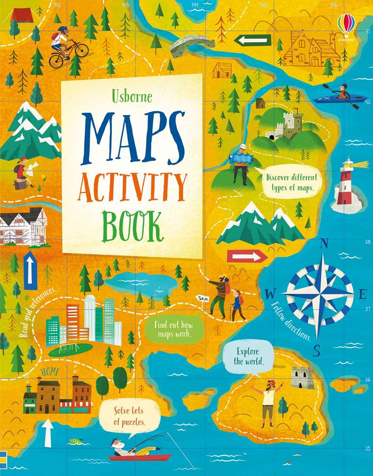 """Maps activity book"""" at Usborne Children's Books on aerial photography, satellite imagery, early world maps, global map, map projection, geographic coordinate system, geographic information system, contour line,"""