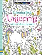 Unicorns colouring book with rub-down transfers