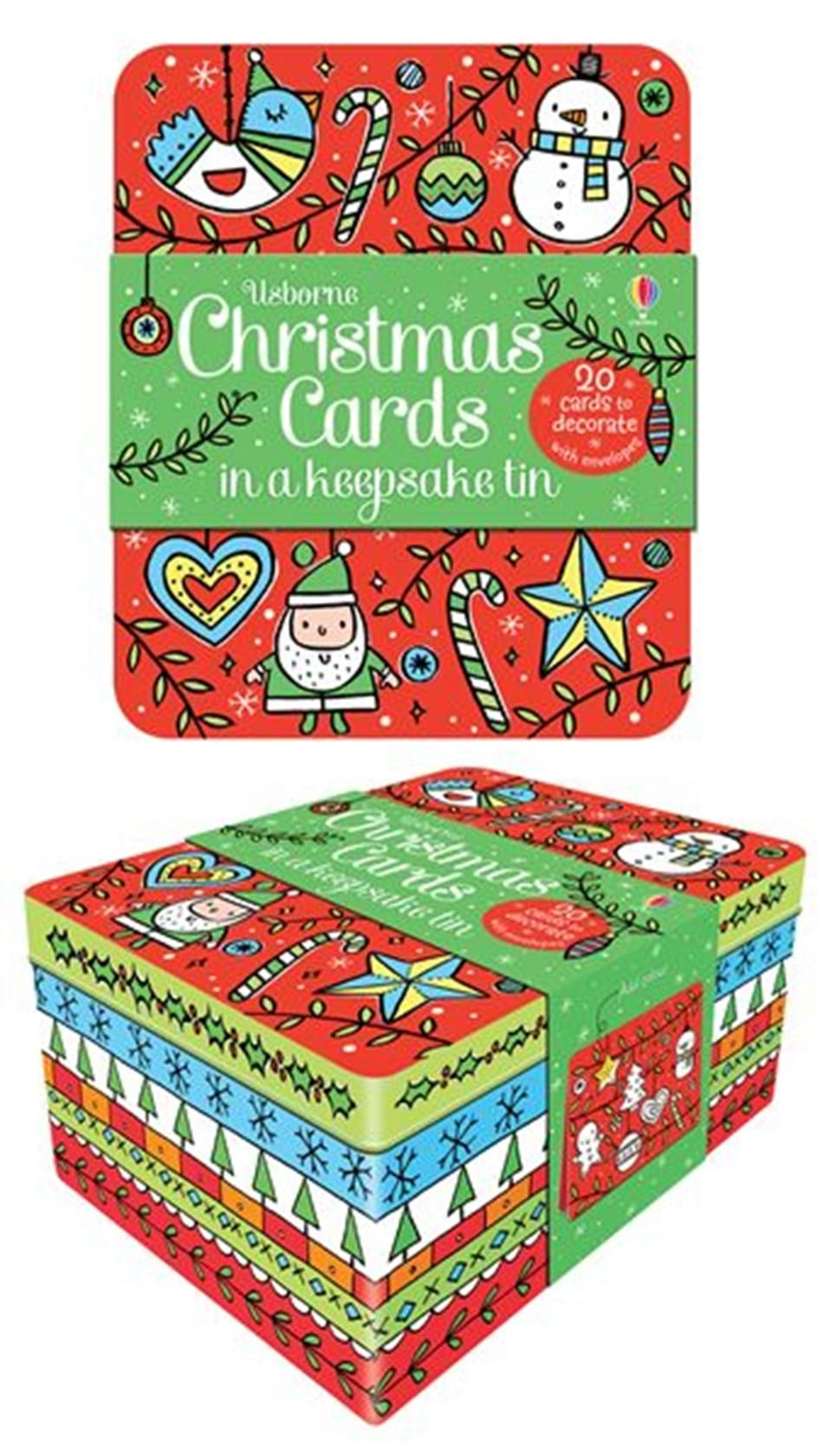 Christmas cards to decorate in a keepsake tin at usborne for Decorating tins for christmas