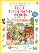 'First thousand words in English sticker book' book cover