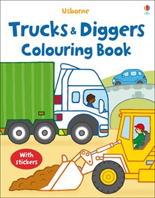 Trucks and diggers colouring book